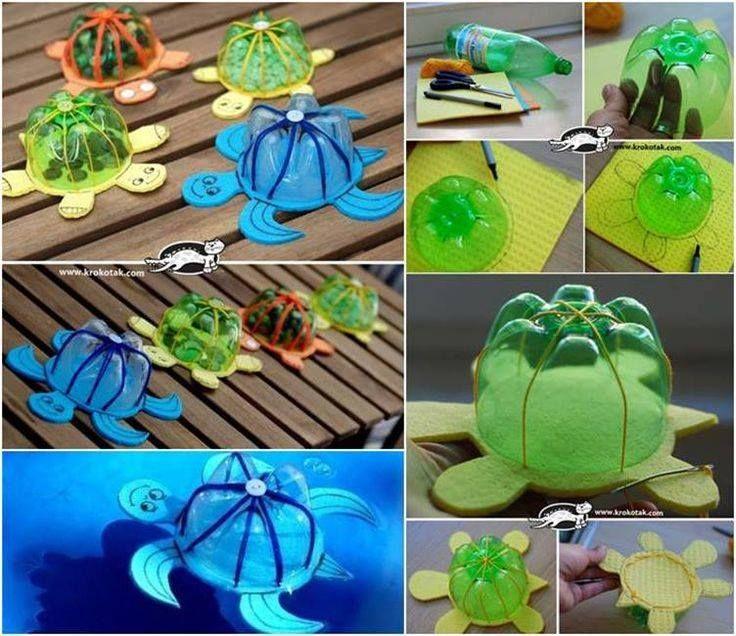 ¿Qué os parecen estas tortugas para JUGAR EN LA BAÑERA? Están hechas con un botella, hilo grueso y aguja, y un paño de cocina, ¡aunque yo usaría goma eva para que no se hundan!