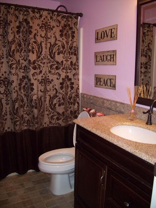 Brown And Pink Bathroom
