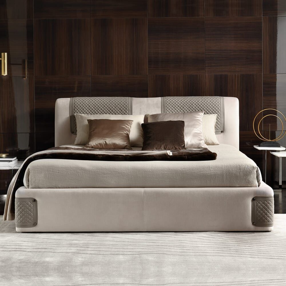 Contemporary Designer Luxury Italian Upholstered Bed in