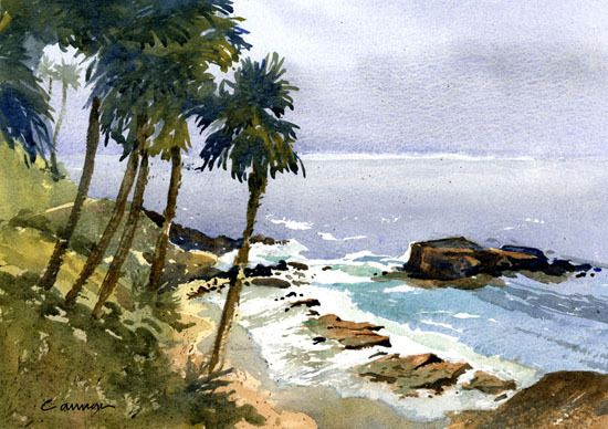 Heisler Park Palms By Larry Cannon Watercolor 10 X 14
