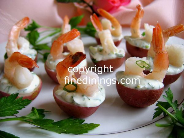 Stuffed small red potato shrimp appetizer appetizers and for Shrimp canape ideas