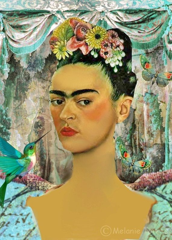 Frida Kahlo Portrait Art Print Mexican Spanish by MixedMediaMuseum ...