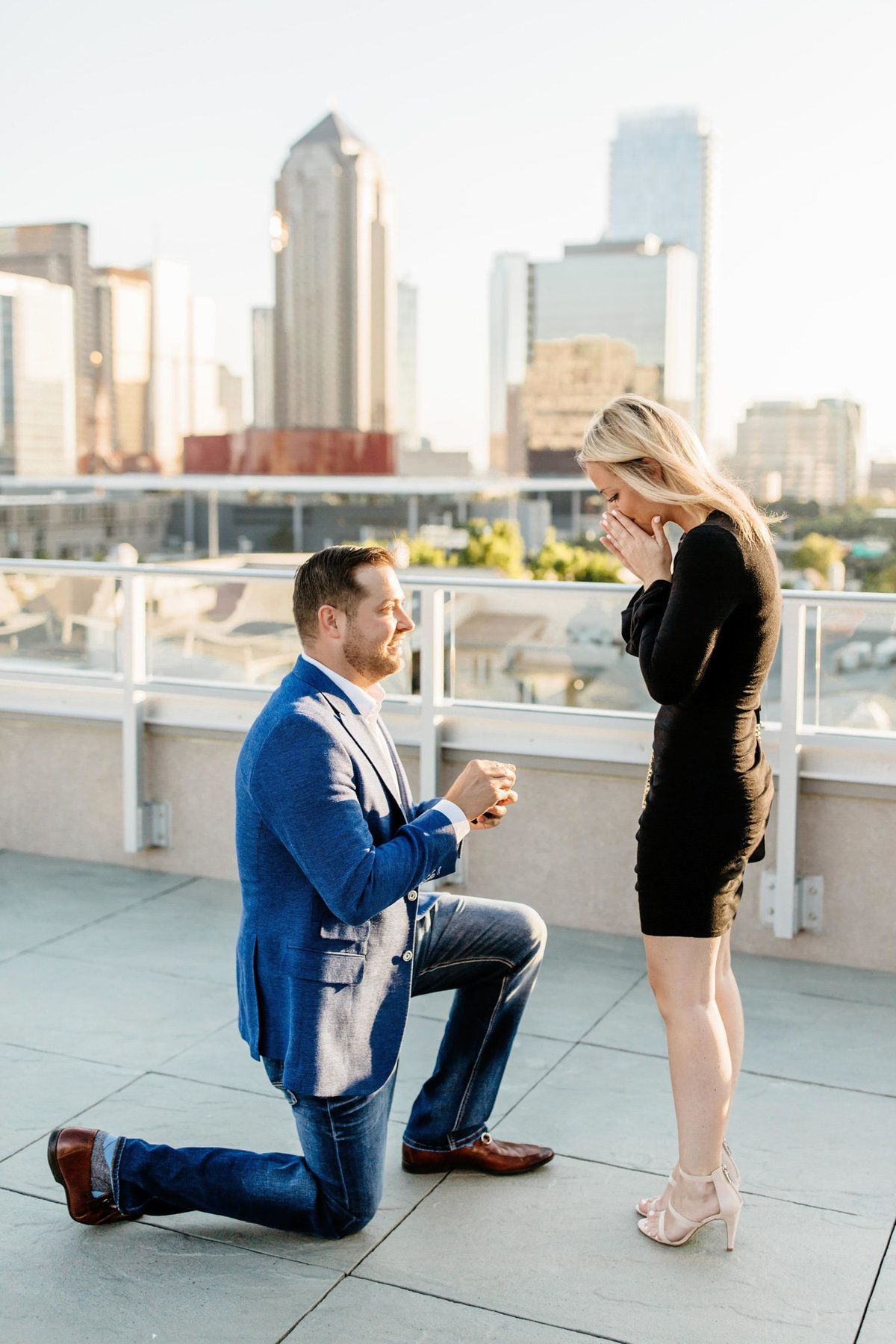 Dallas Rooftop Proposal Surprise Proposal Engagement Party Skyline Proposal City P Dallas Engagement Photography Proposal Photographer Proposal Photography
