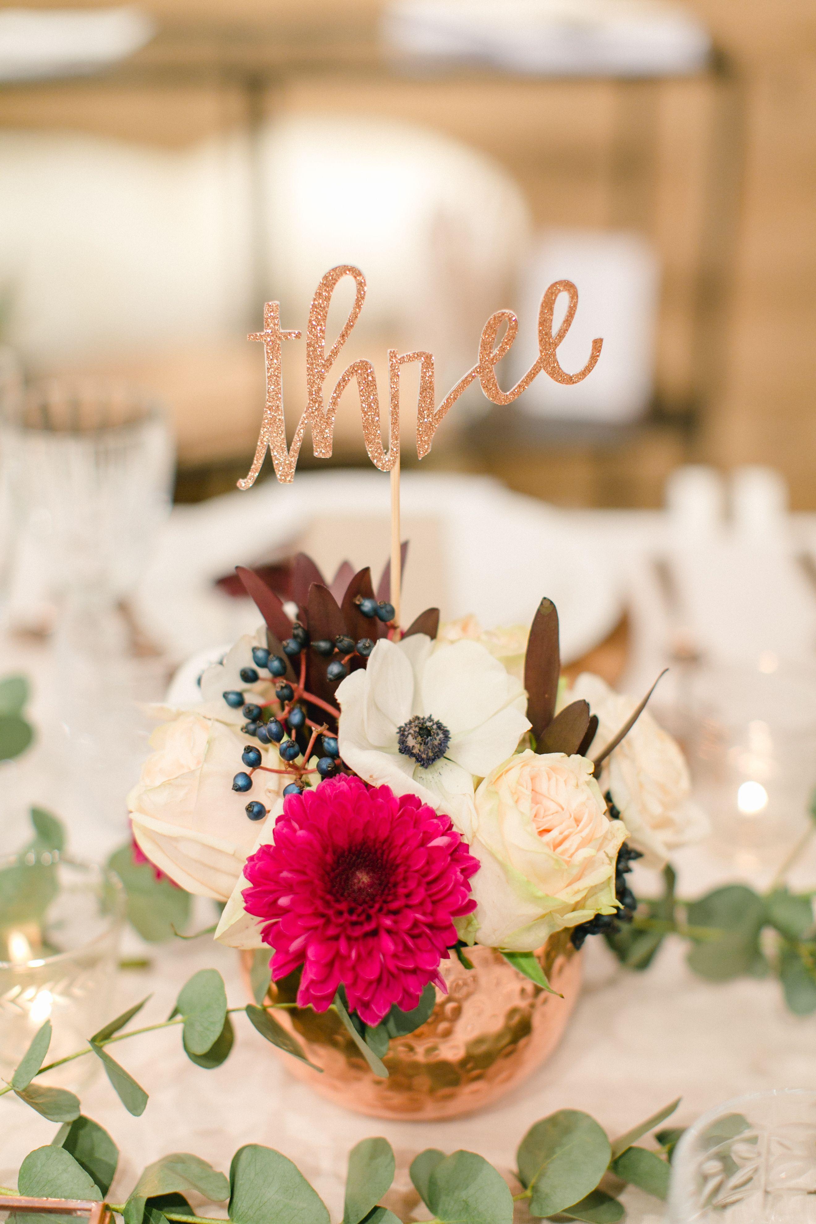 Dekoration Tischdeko Kupfer Rustikal Hochzeit Blumen