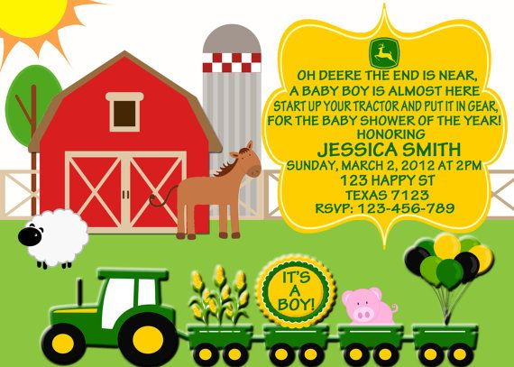john deere baby shower invitation | party ideas for all ages, Baby shower invitations