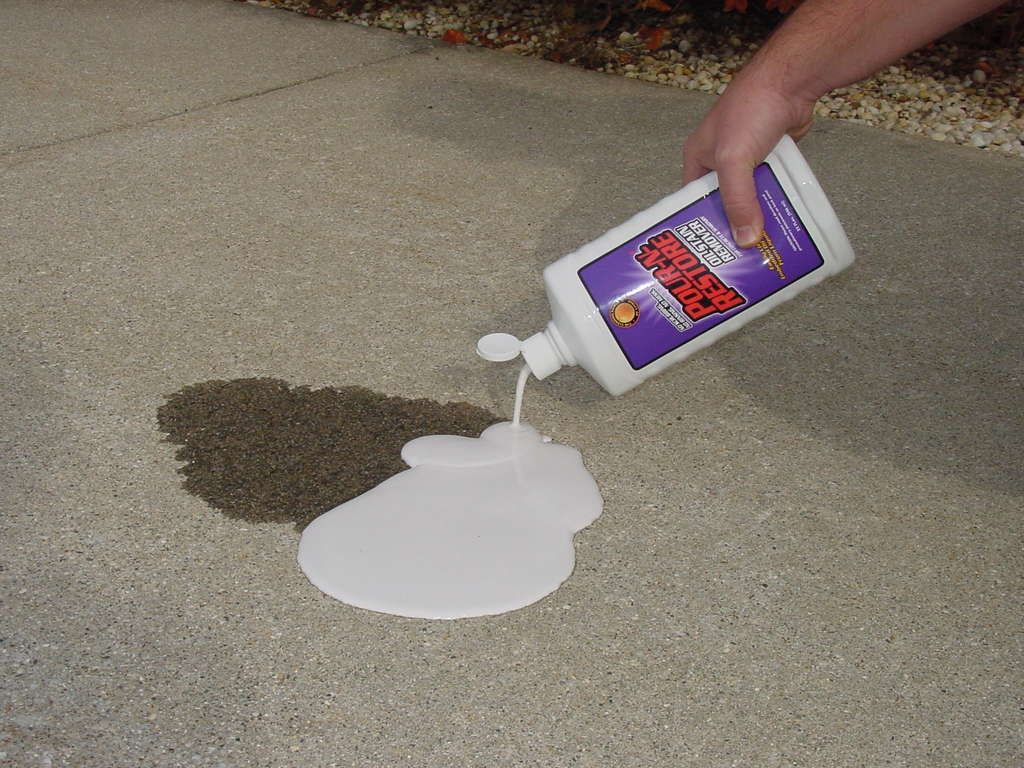 Get Oil Stains Off Of Drive Way Pour N Re Onto Stain On Driveway After Dries Out You Just Sweep Up The Powder