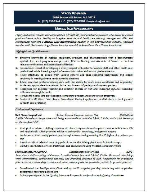 Medical Sales Representative Resume Sample Medical Sales Sales Resume Examples Medical Sales Resume
