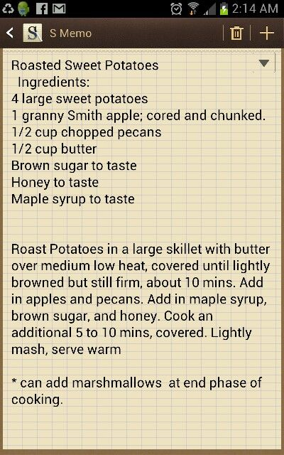 Roasted sweet potatoes with apples and pecans