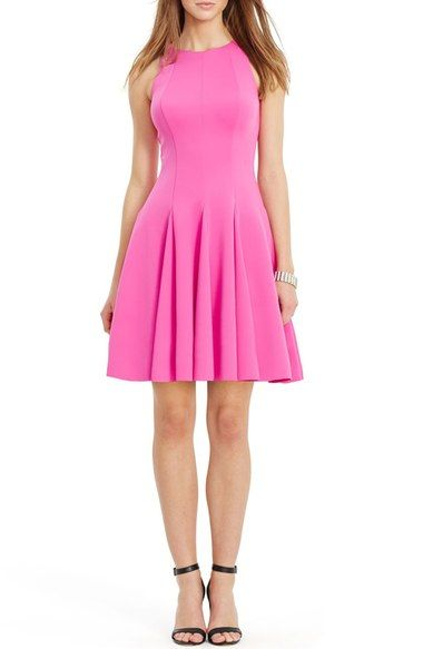 Lauren Ralph Scuba Fit Flare Dress Available At Nordstrom Hot Pink Dresses