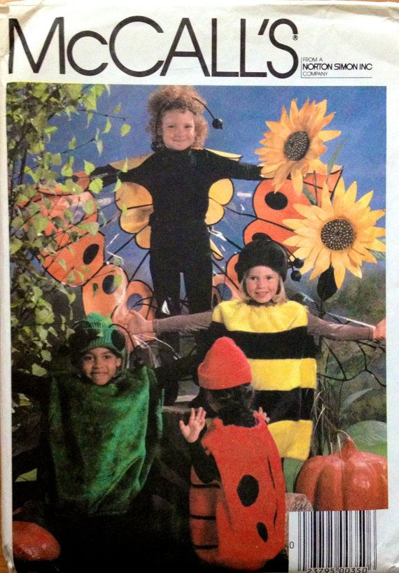 Vintage HALLOWEEN COSTUME Sewing Pattern - Spider Bumble Bee Lady ...