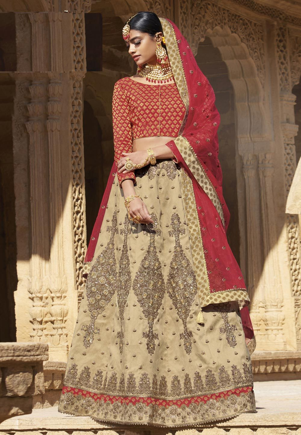 f3786a6e1d Buy Beige Raw Silk A Line Lehenga Choli 156043 online at best price from  vast collection of Lehenga Choli and Chaniya Choli at Indianclothstore.com.