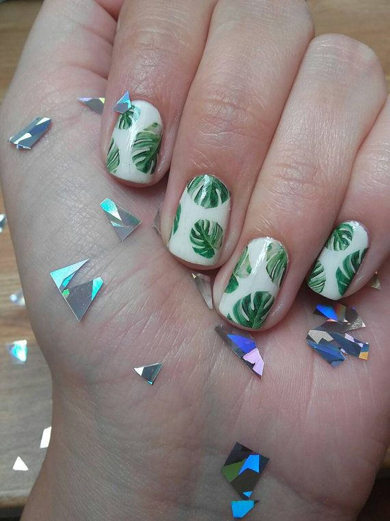 Monstera Deliciosa Nail Decals Cheese Plant Tropical Botanical Leaves Leaf Gardening Green Nail Designs Tropical Nails Green Nails