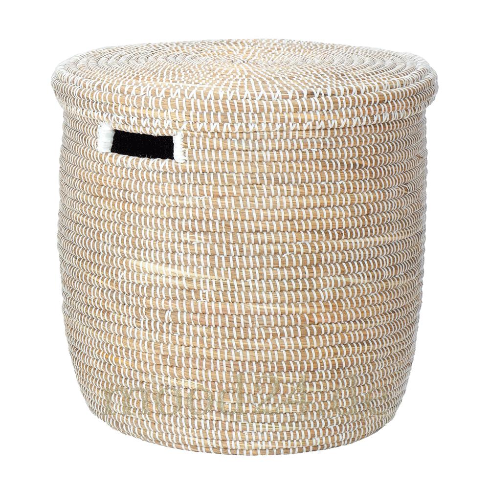 Korb Mit Flachem Deckel L Weiss Und Griffoffnungen Afrika Korb Deckel Dekorative Korbe