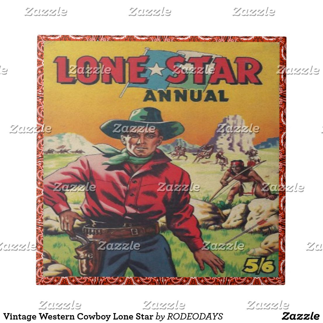 Vintage Western Cowboy Lone Star Ceramic Tile Zazzle Com Cowboy Posters Vintage Western Western Wall Art