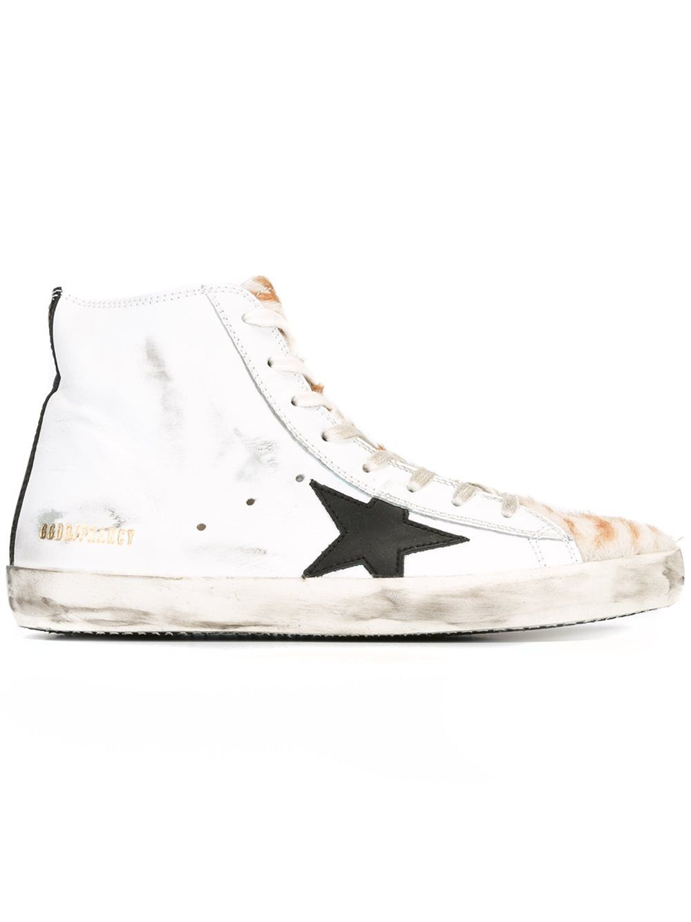 'francy' Calf From Leather Sneakers Deluxe White Hi Top Golden Goose WDEH29I