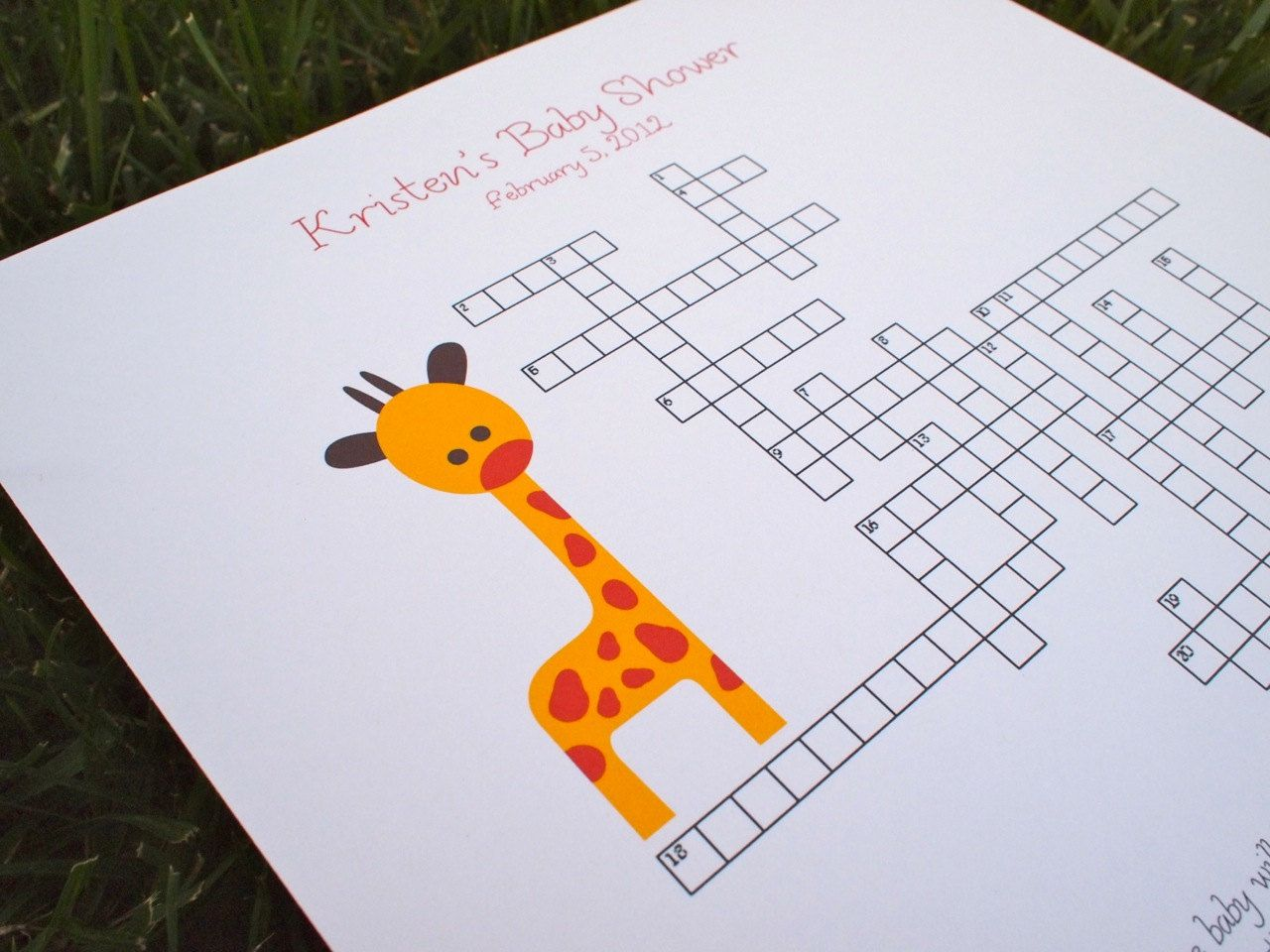 Custom Baby Shower Crossword Puzzle   Giraffe   Perfect For A Baby Shower  Or For A