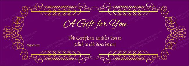 Purple Gift Voucher Template Gift Certificate Template Card