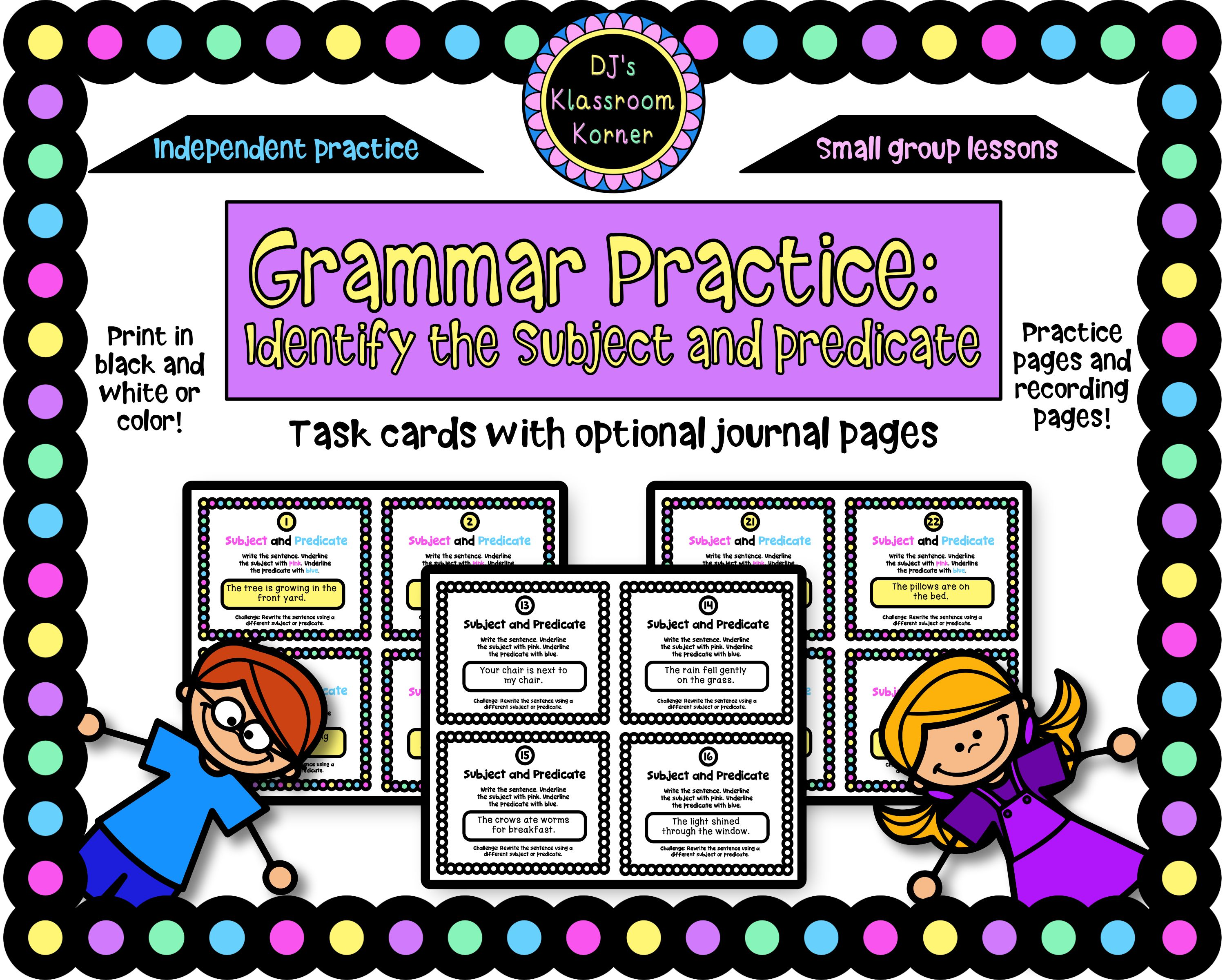 Grammar Practice Identify Subject And Predicate
