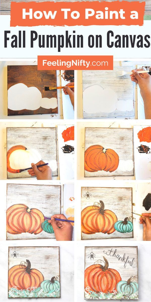 How to Paint a Pumpkin on Canvas- Easy Beginner Fall Painting -   19 easy cute pumpkin painting ideas