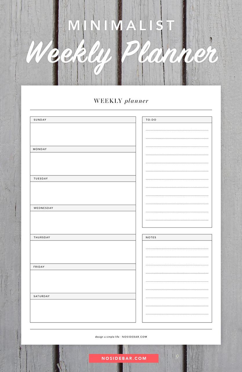 Minimalist Calendar Template : Minimalist weekly planner printable