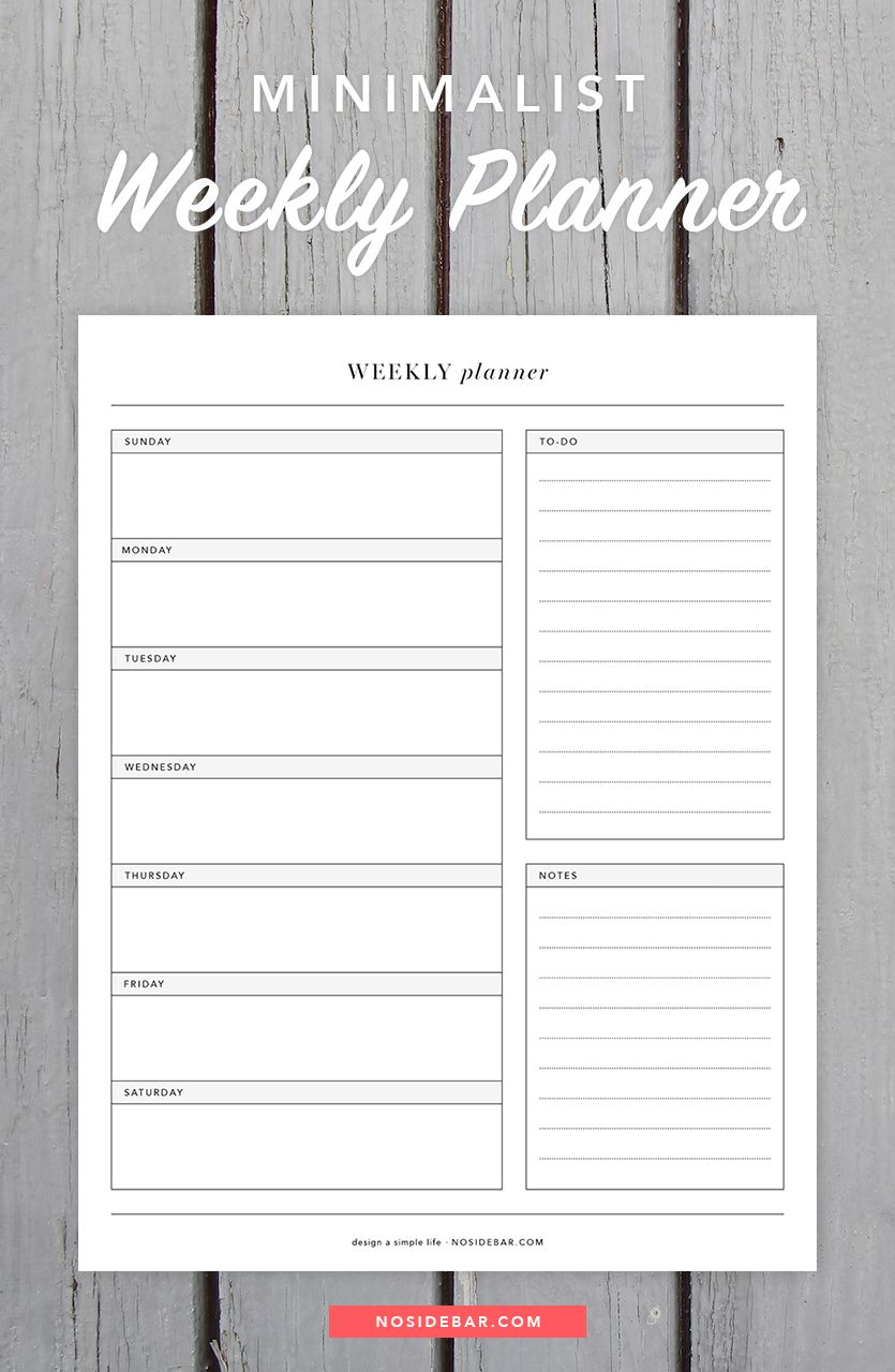 Minimalistic Calendar Design : Minimalist weekly planner printable