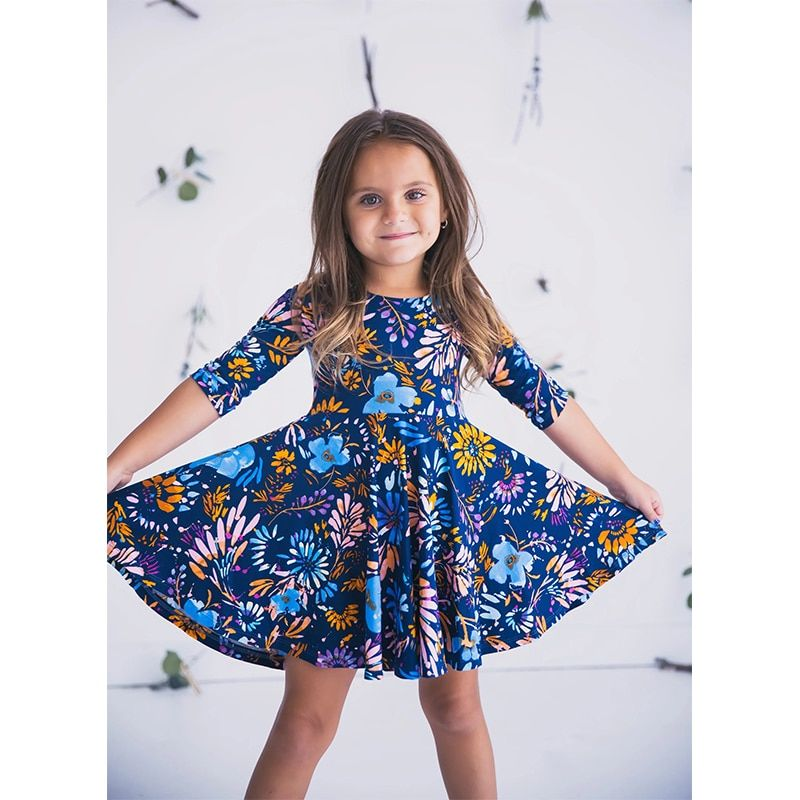 Mom and daughter dress mommy and me 2019 blue floral