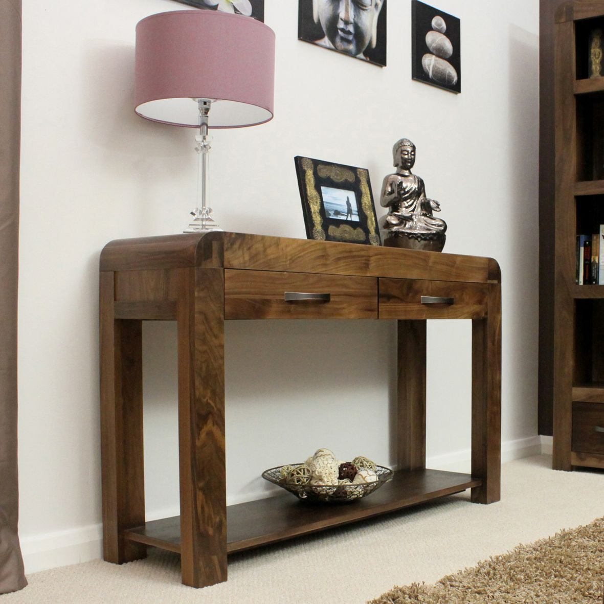 Contemporary hallway furniture  Solid walnut modern hallway console table with two drawers in hall