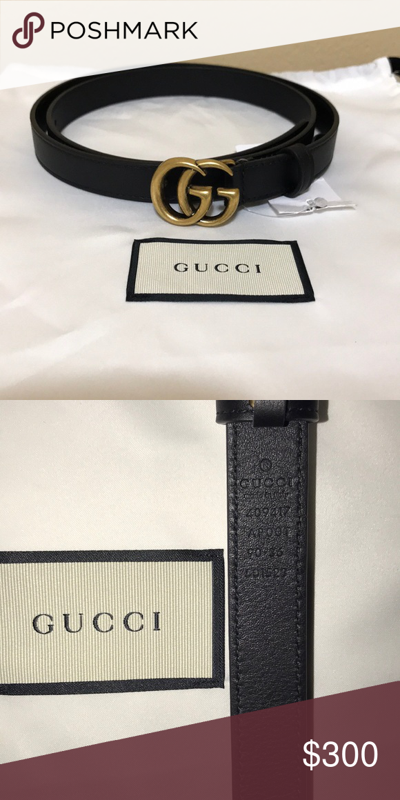 """195258360026 Gucci Marmont Belt (Black, size 90/36) 100% authentic—Gucci Marmont Belt  with brass double GG logo. Smooth black leather. Small width is .5""""."""