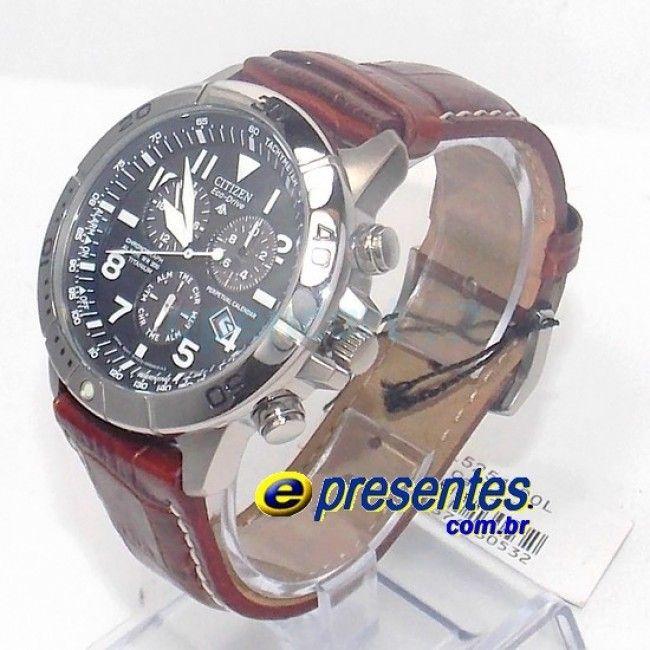 c9d33b43c51 Relogio Citizen BL5251-00L Masculino analógico Titanio Eco Drive Pulseira  Couro