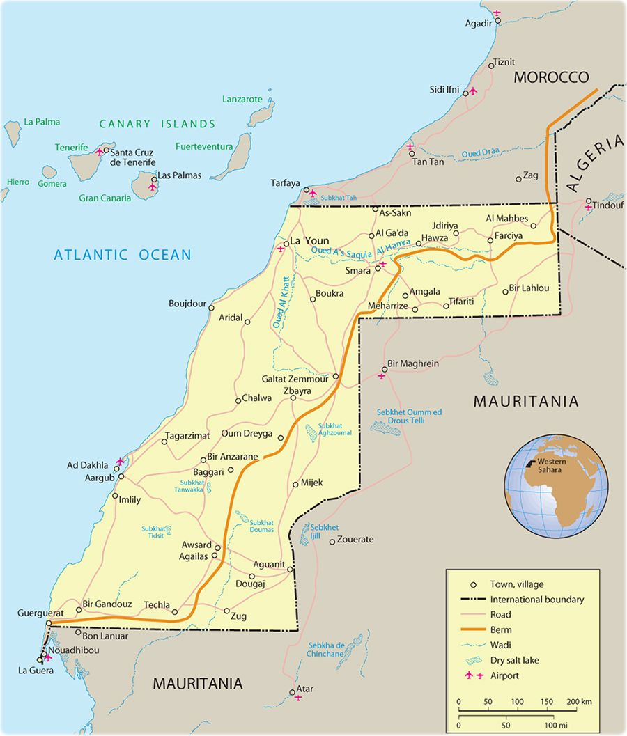 Map of Western Sahara it is a disputed territory in the Maghreb