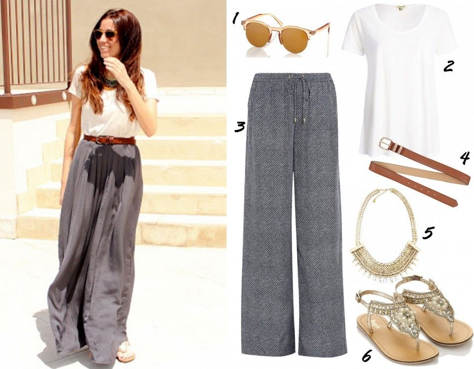 how to wear wide leg palazzo pants trend summer 2014 outfits ideas ...