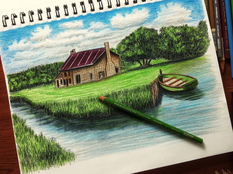 How To Draw A Landscape In Wood Colors Drawing Art Landscape How To Draw Drawings Art Landscape