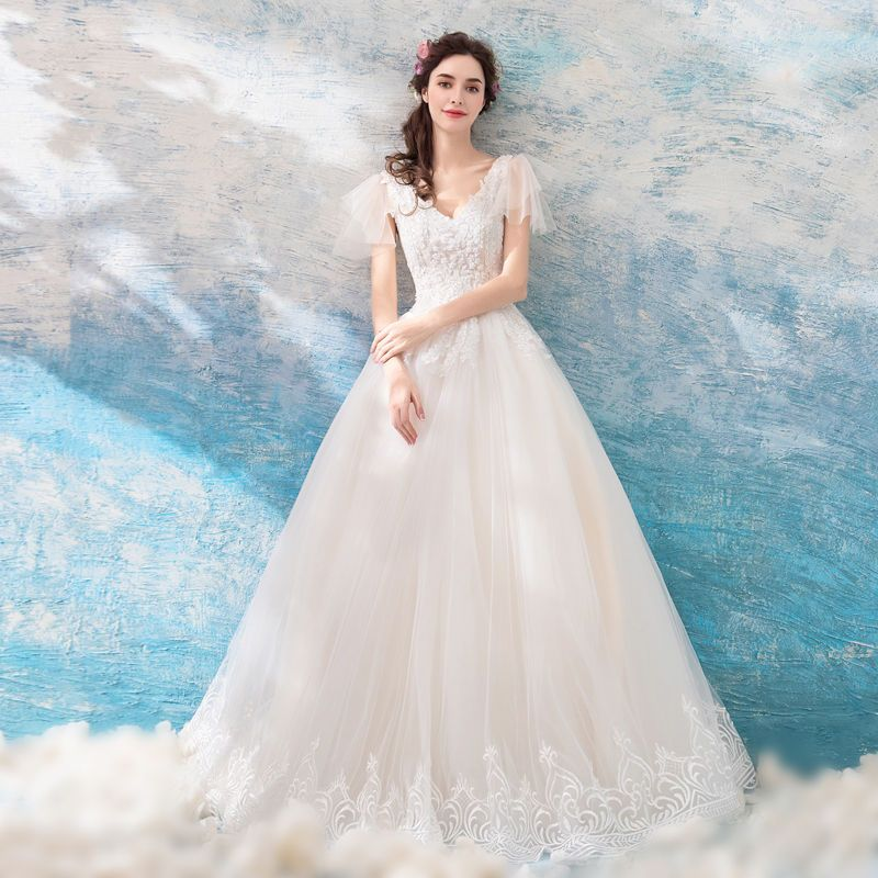 9f95ceb580c Buy Angel Bridal V-Neck Embroidered Ball Gown Wedding Dress ...