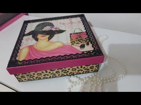 Caixa de MDF com scrapdecor | Ateliê Soraya Gusmão - YouTube #caixasdemadeira