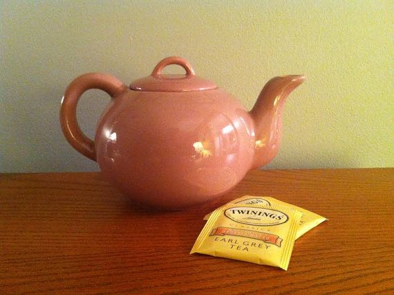 Coral Sam Lebowitz Teapot and Lid  Vintage Pottery by delovelyness, $69.65