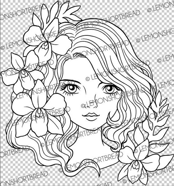 Digital Stamp Orchid Lady Face Digi Coloring Page Flowers Girl