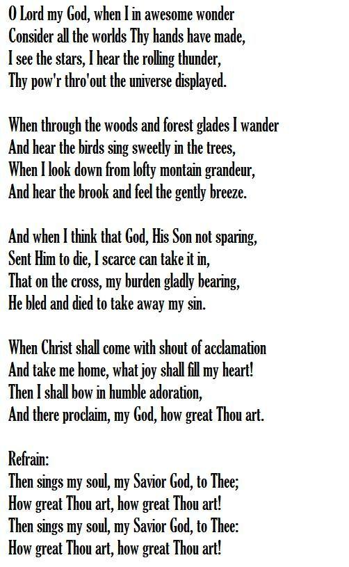 How Great Thou Art Words Stuart K Hine 1885 Praise Songs