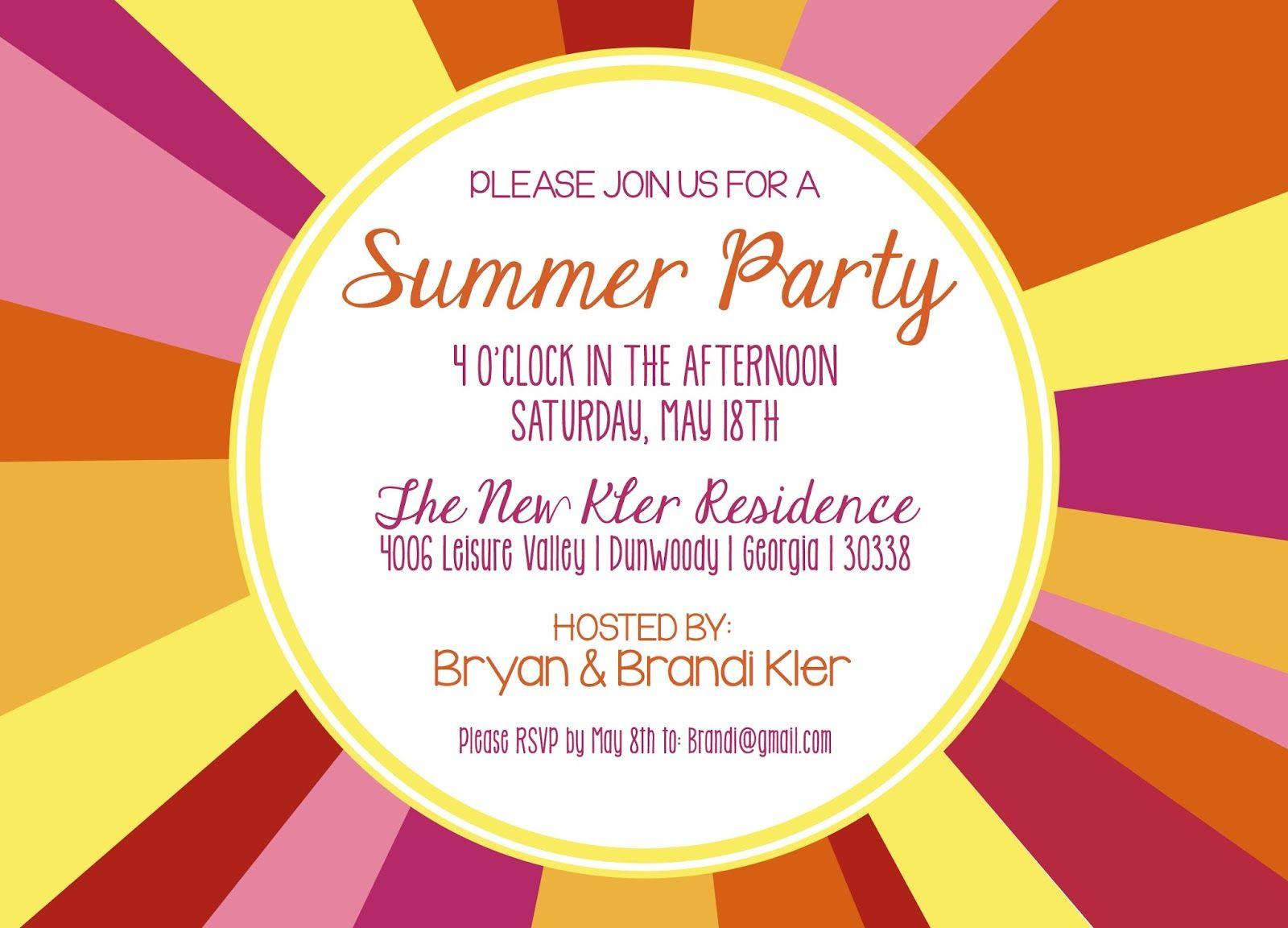 Summer Party Invitation Wording girls tea party invitations – Summer Party Invite