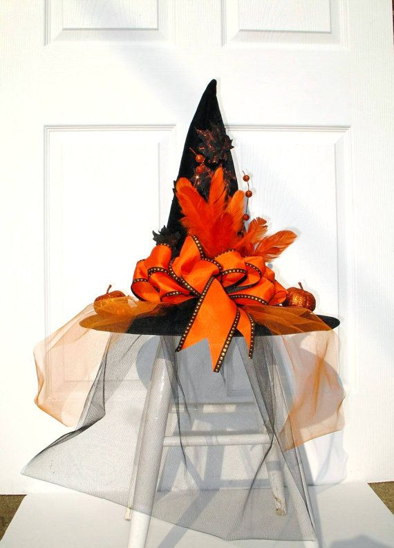 Orange+and+Black+Witch+Hat+/+Halloween+by+englishrosedesignsoh,+$ - halloween decorations witch