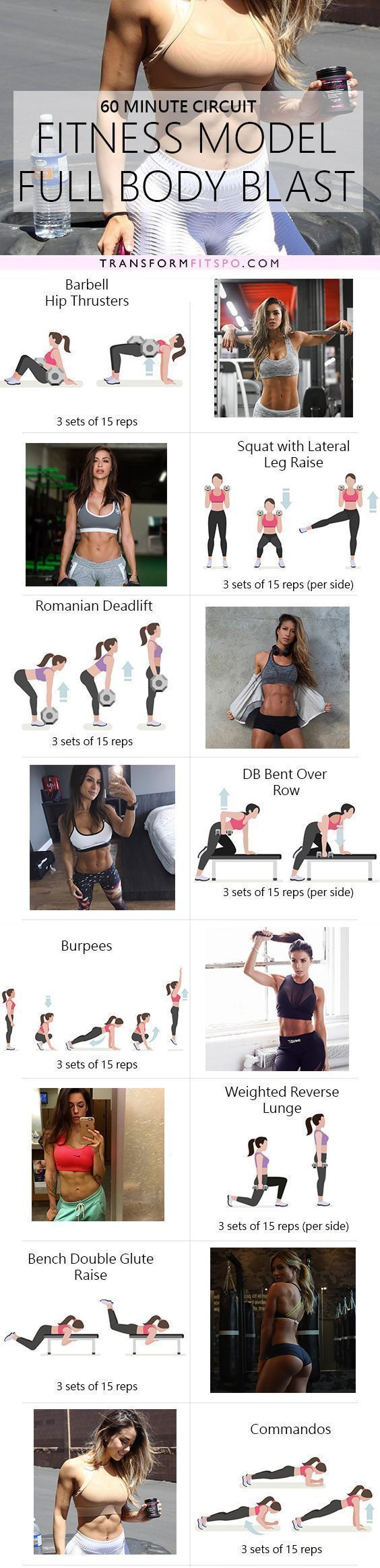 Fitness Girl Full Body Workout - Instagram's Top Fitness Models Circuit - #Body #Circuit #Fitness #f...