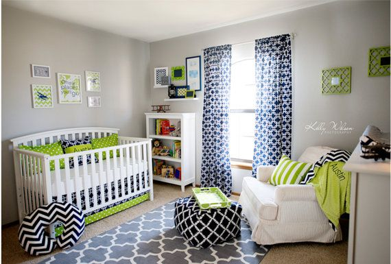 Nursery Art Collage Lime Green And Navy By Chicwallart For Missy