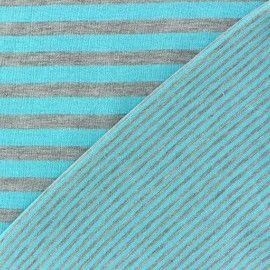 Tissu jersey reversible à rayures fond turquoise x 10cm