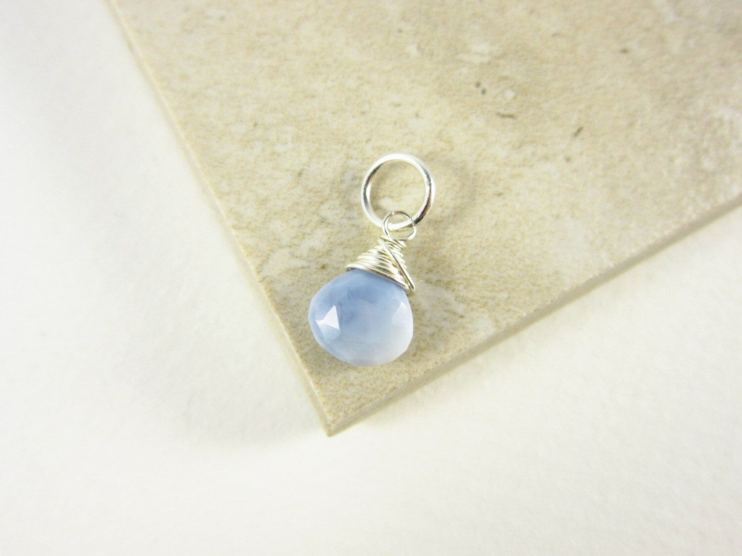 SmLt - Sterling Silver Light Blue Peruvian Opal Pendant - Something Blue Opal Charm - Blue Opal Jewelry Handmade - Natural Stone Jewelry by JustDangles on Etsy https://www.etsy.com/listing/280737388/smlt-sterling-silver-light-blue-peruvian