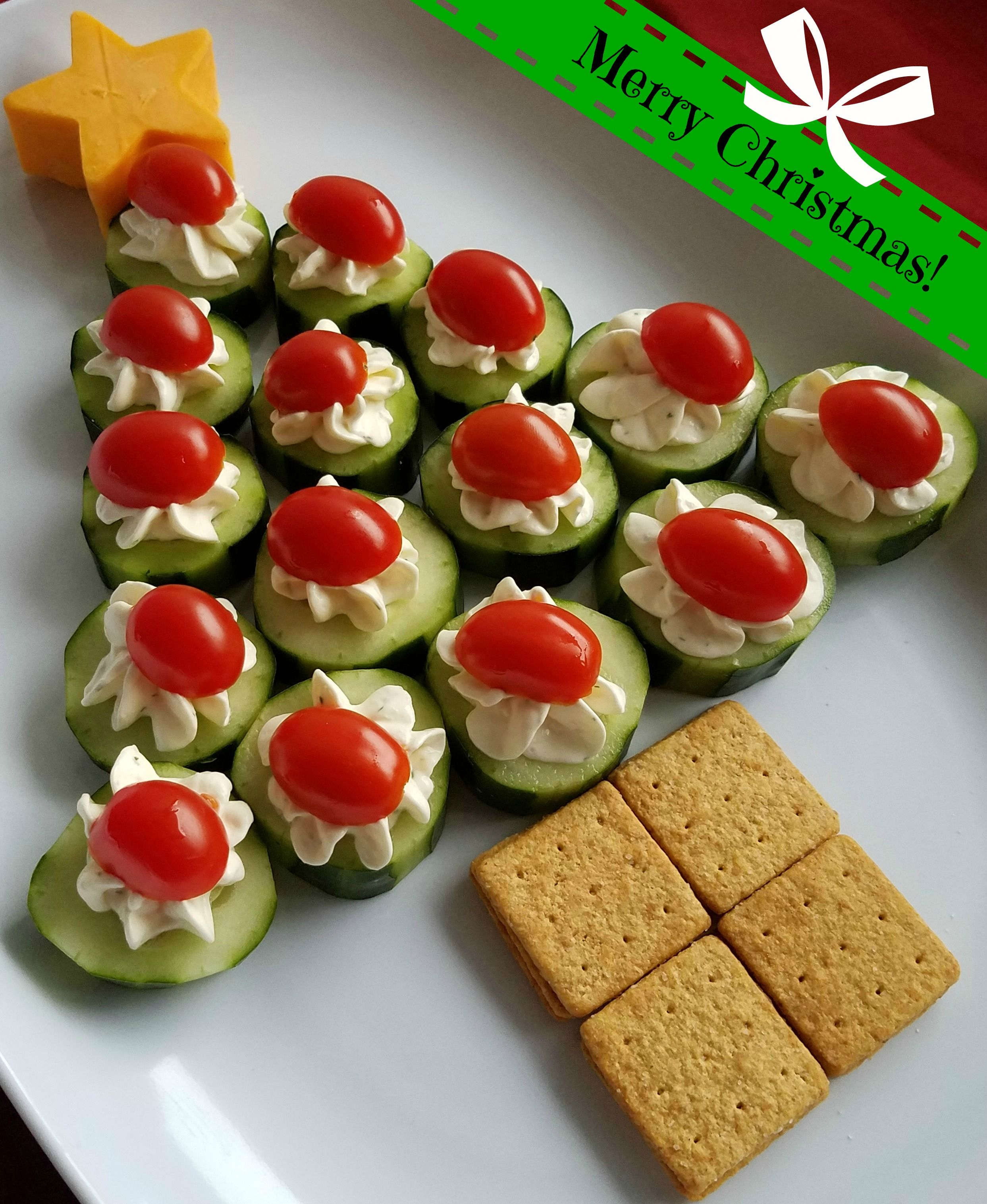 Cucumber Bites Christmas Tree Appetizer Tray