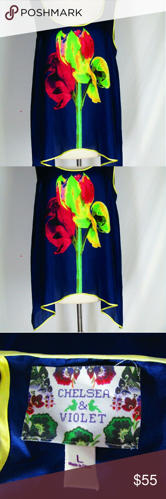 """NWOT Chelsea & Violet  Flower Silk top L Amazing silk top with bright graphic flower. Chelsea & Violet Navy Silk Shirt Top Blouse. Iris Design. Navy with green, red, yellow iris design.100% Silk. SIZE  Large. Bust - 38"""" Length - 26"""" (top of shoulder to hem) New without tags. Ties in back at neck. High/low cut on sides. Trapeze style. Very pretty and flattering. Chelsea & Violet Tops Blouses"""