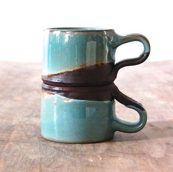 Pair of 6 oz / 200 ml Coffee Mugs by JenniferBurkePottery