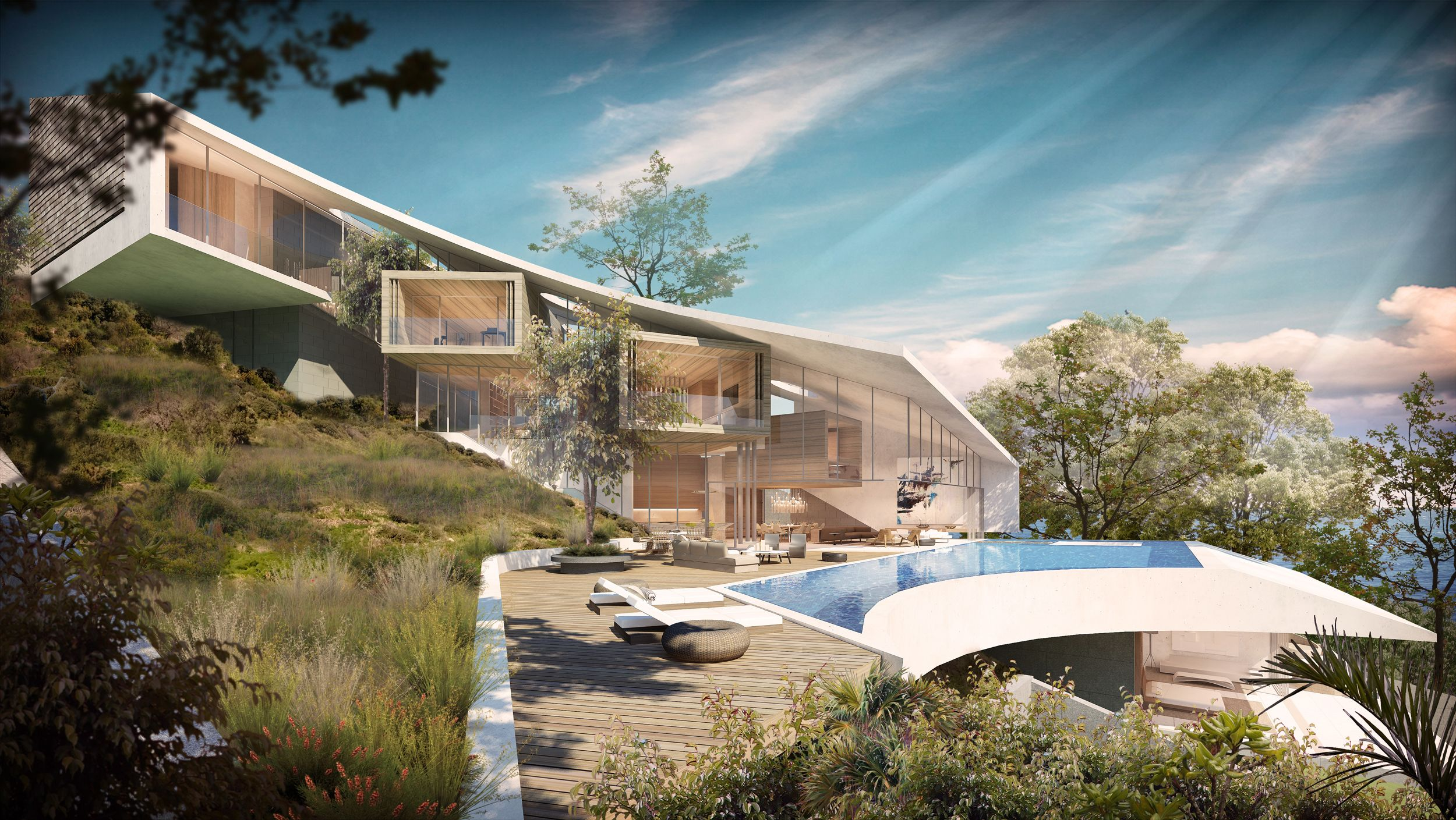 Colina by SAOTA. This family villa is situated on a steep slope overlooking the bay of Funchal. The sculptural geometry of the roof plane mirrors the view to the coast line. Terracing timber boxes float below the sloping roof plane and are orientated to frame significant views.