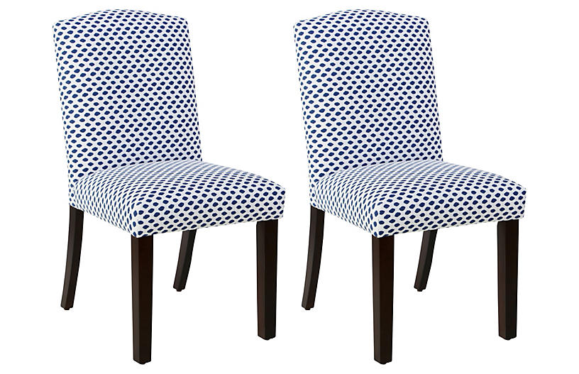Marie Blue Dot Side Chairs   Set Of 2