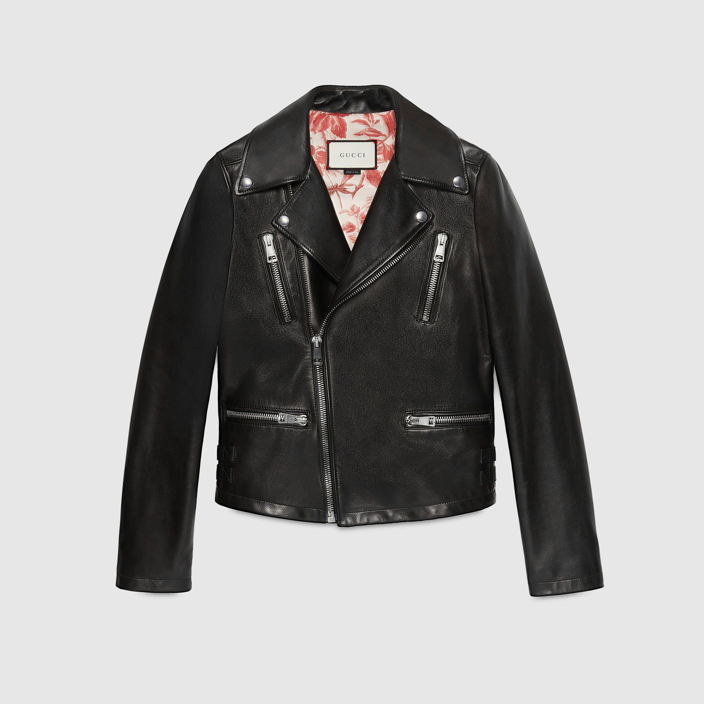 Veste motard en cuir - Gucci Vêtements d extérieur   Vestes en cuir  419017XN3361000 339ab9fd94b