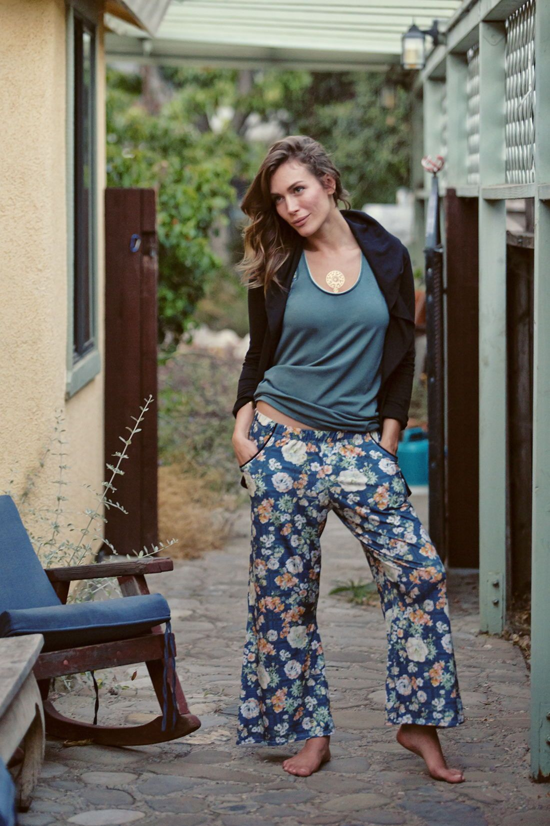 c279e04eaea eco friendly ethically made women's fashion // MAJAMAS EARTH // comfy teal  blue floral